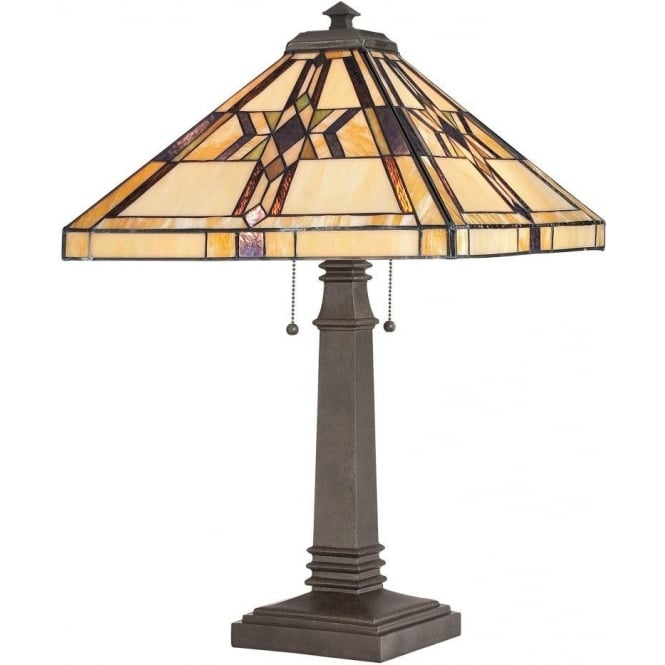 Broadway American Collection FINTON Tiffany glass Deco table lamp on bronze base