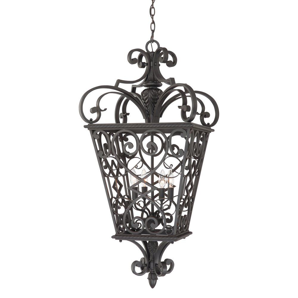 Indoor Lantern Lights: Decorative Black Hall Lantern In Cast Aluminium With