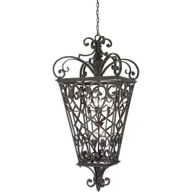 Broadway American Collection FORT QUINN decorative large black cast aluminium indoor hall lantern
