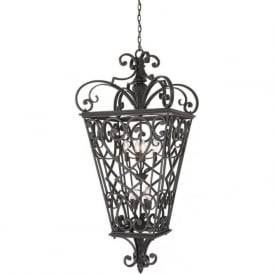 FORT QUINN decorative large black cast aluminium indoor hall lantern