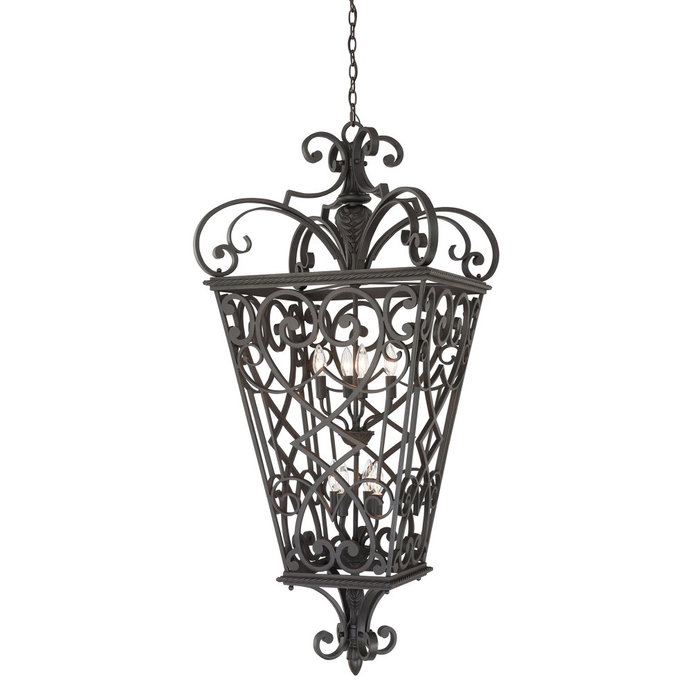 Indoor Lantern Lights: Large Black Decorative Entrance Hall Lantern In Gothic Styling