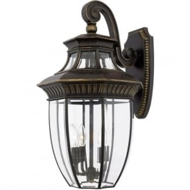 GEORGETOWN large traditional bronze garden wall lantern, IP44