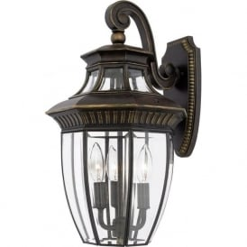 GEORGETOWN medium traditional bronze garden wall lantern, IP44