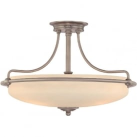 GRIFFIN Art Deco antique nickel semi-flush uplighter ceiling light - medium