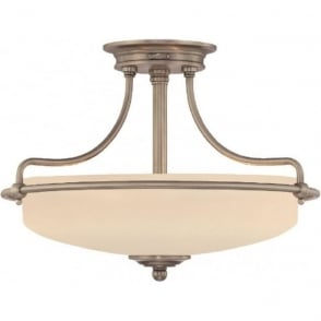 Broadway American Collection GRIFFIN Art Deco antique nickel semi-flush uplighter ceiling light - small