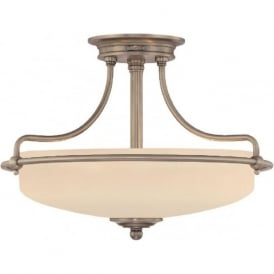 GRIFFIN Art Deco antique nickel semi-flush uplighter ceiling light - small