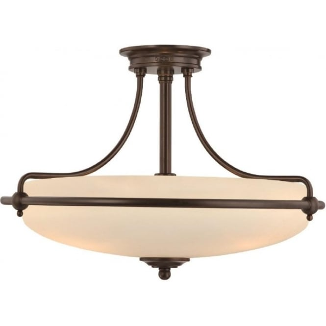 Broadway American Collection GRIFFIN Art Deco bronze semi-flush uplighter ceiling light - medium