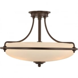 GRIFFIN Art Deco bronze semi-flush uplighter ceiling light - medium