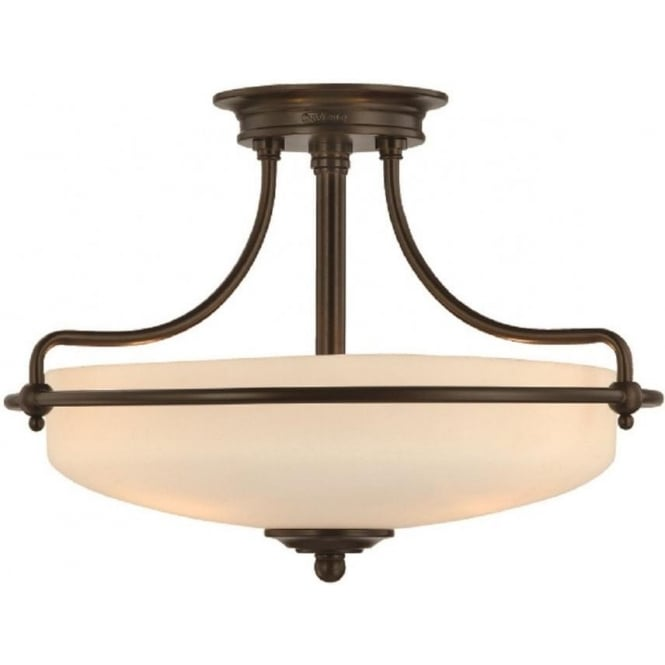 Broadway American Collection GRIFFIN Art Deco bronze semi-flush uplighter ceiling light - small