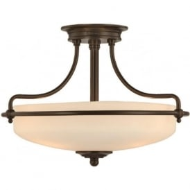 GRIFFIN Art Deco bronze semi-flush uplighter ceiling light - small