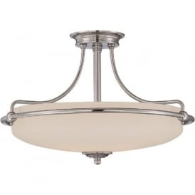 GRIFFIN Art Deco chrome semi-flush uplighter ceiling light - medium