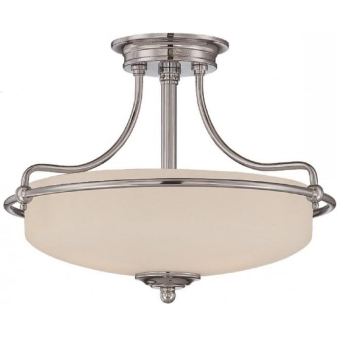 Broadway American Collection GRIFFIN Art Deco chrome semi-flush uplighter ceiling light - small