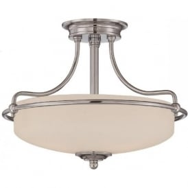 GRIFFIN Art Deco chrome semi-flush uplighter ceiling light - small