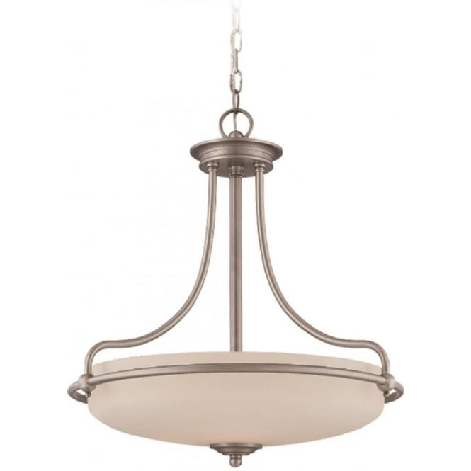 Broadway American Collection GRIFFIN Art Deco style ceiling pendant light - antique nickel
