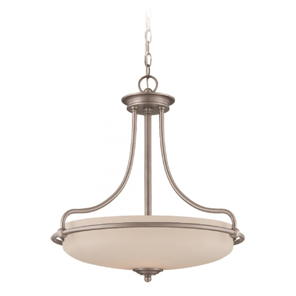 Art Deco Ceiling Pendant In Antique Nickel With Opal Glass