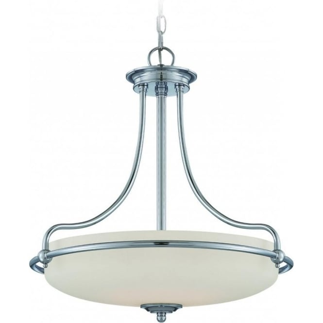 Broadway American Collection GRIFFIN Art Deco style ceiling pendant light - chrome