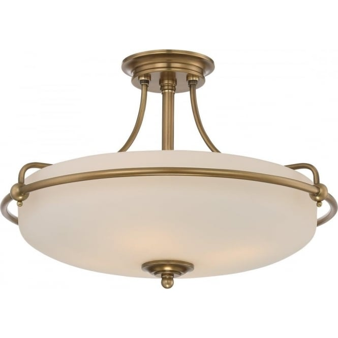 Broadway American Collection GRIFFIN Art Deco weathered brass semi-flush uplighter ceiling light - medium