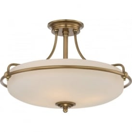 GRIFFIN Art Deco weathered brass semi-flush uplighter ceiling light - medium