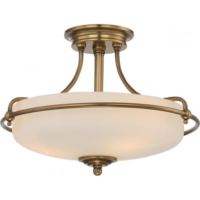 Broadway American Collection GRIFFIN Art Deco weathered brass semi-flush uplighter ceiling light - small
