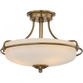 GRIFFIN Art Deco weathered brass semi-flush uplighter ceiling light - small