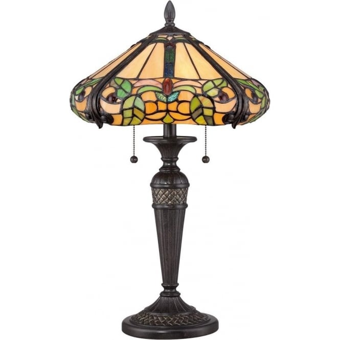 Broadway American Collection HARLAND floral pattern Tiffany glass table lamp on bronze base