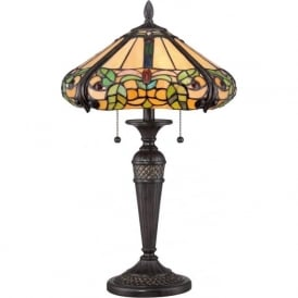 HARLAND floral pattern Tiffany glass table lamp on bronze base