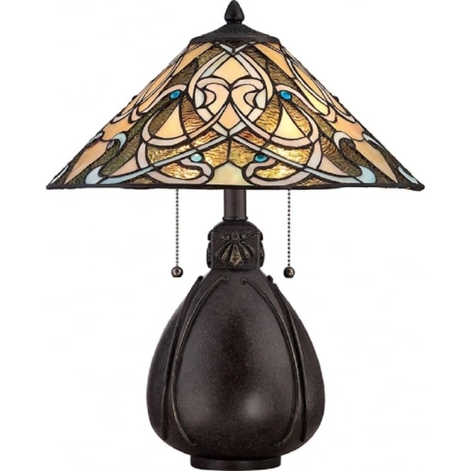 Delicieux INDIA Bronze Table Lamp With Tiffany Stained Glass Shade
