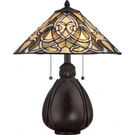 INDIA bronze table lamp with Tiffany stained glass shade