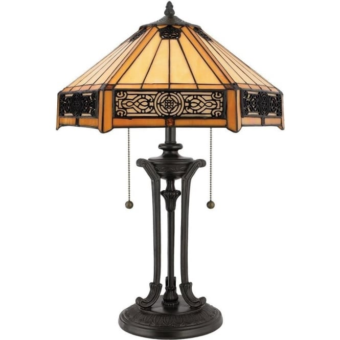 Broadway American Collection INDUS vintage style bronze table lamp with Tiffany glass shade