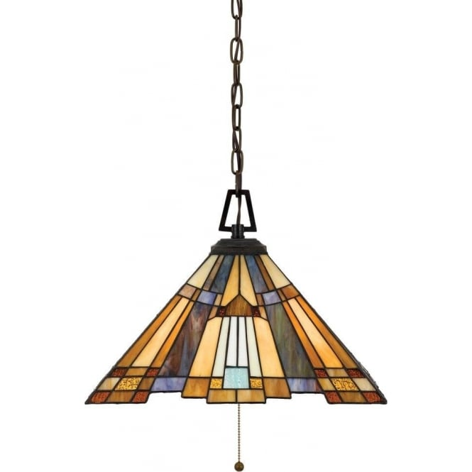 Broadway American Collection INGLENOOK Tiffany style Arts and Crafts ceiling pendant light