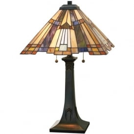 INGLENOOK Tiffany style Arts and Crafts table lamp, bronze base