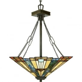 INGLENOOK Tiffany style Arts and Crafts uplighter ceiling pendant light