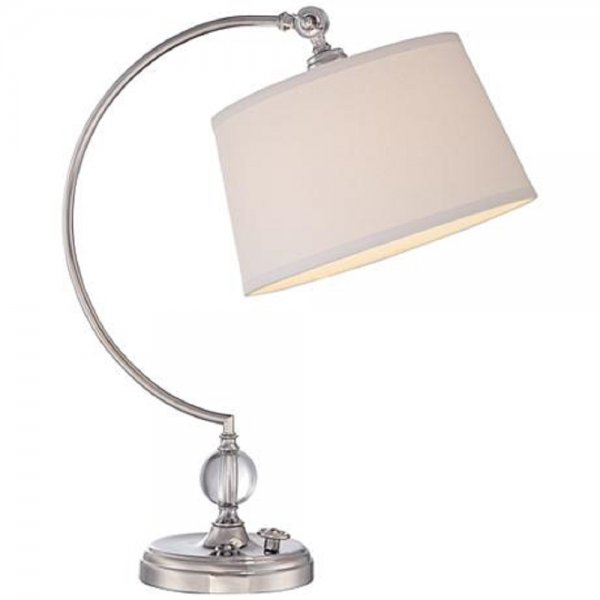 Nickel table lamp with adjustable cream shade good for Dressing table lamp lighting