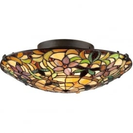 KAMI flush fitting Tiffany glass light for low ceilings