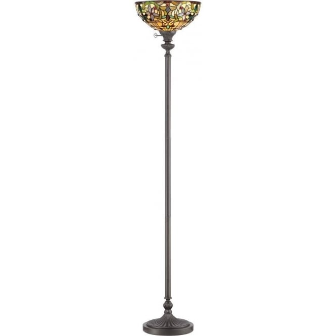 Broadway American Collection KAMI Tiffany standard lamp with Art Nouveau uplighter shade