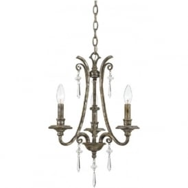 KENDRA 3 light classic modern chandelier for high ceilings