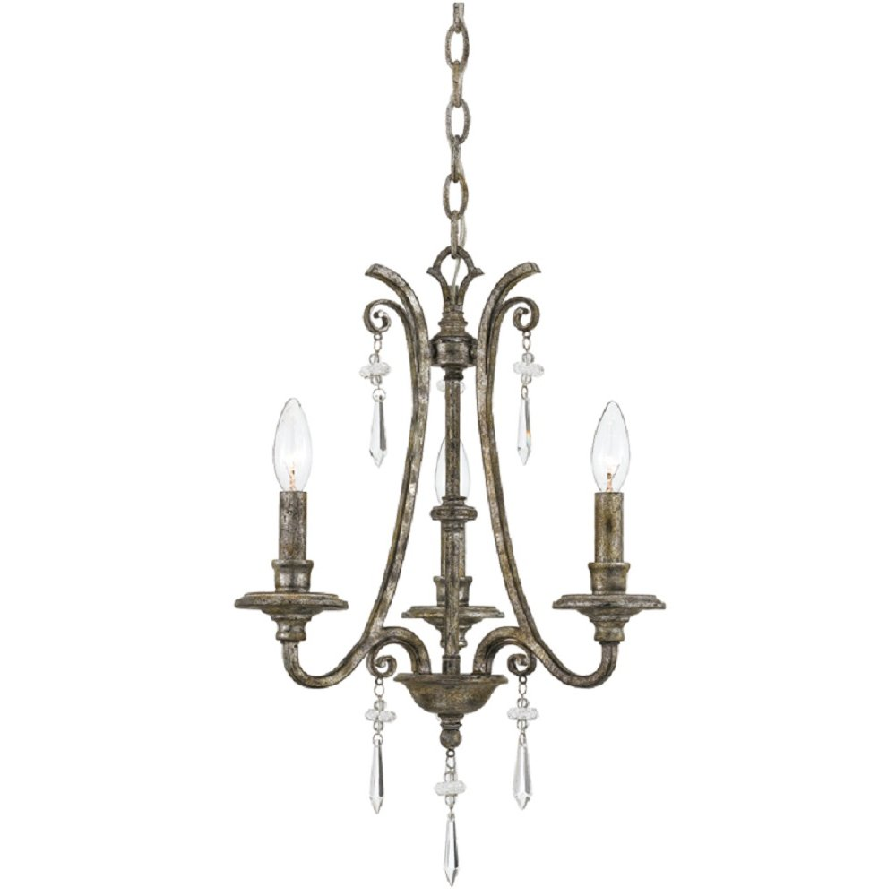 Small 3 light candle chandelier on mottled silver frame for American classic lighting