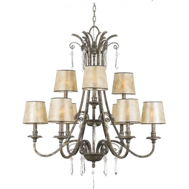 Broadway American Collection KENDRA large 9 light classic modern chandelier for high ceilings