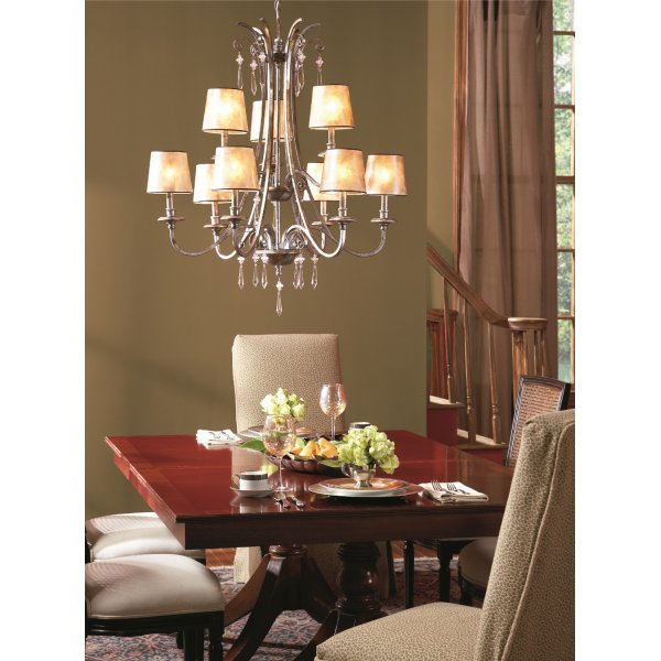 Large mottled silver chandelier with pearly mica shades for American classic lighting