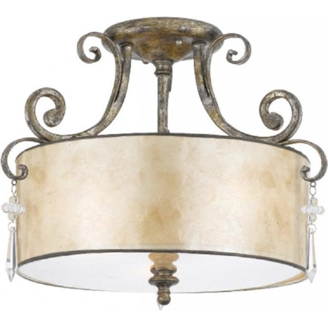 Broadway American Collection KENDRA semi-flush fitting drum shade ceiling pendant light