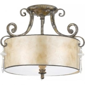 KENDRA semi-flush fitting drum shade ceiling pendant light