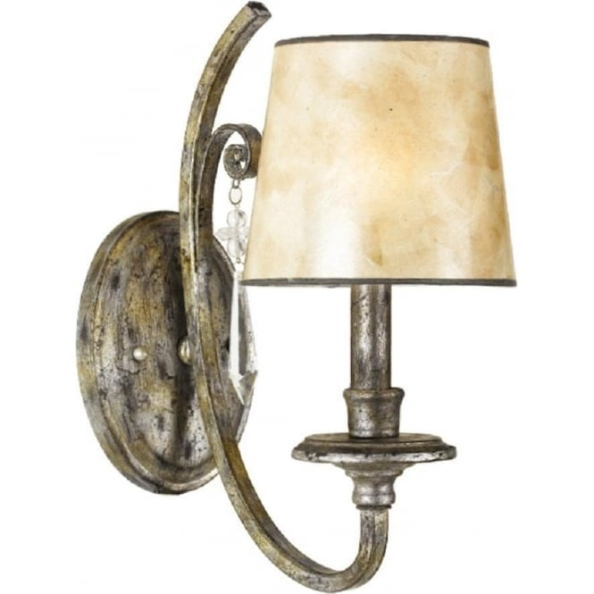 Broadway American Collection KENDRA single wall light in mottled silver with oyster mica shade