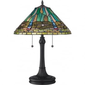 KING Tiffany dragonfly pattern stained glass table lamp