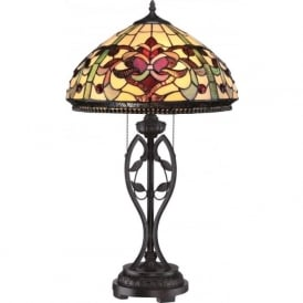 KINGS POINTE Tiffany stained glass table lamp on dark bronze base