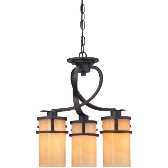 Broadway American Collection KYLE 3 light rustic chic hanging ceiling pendant with onyx shades