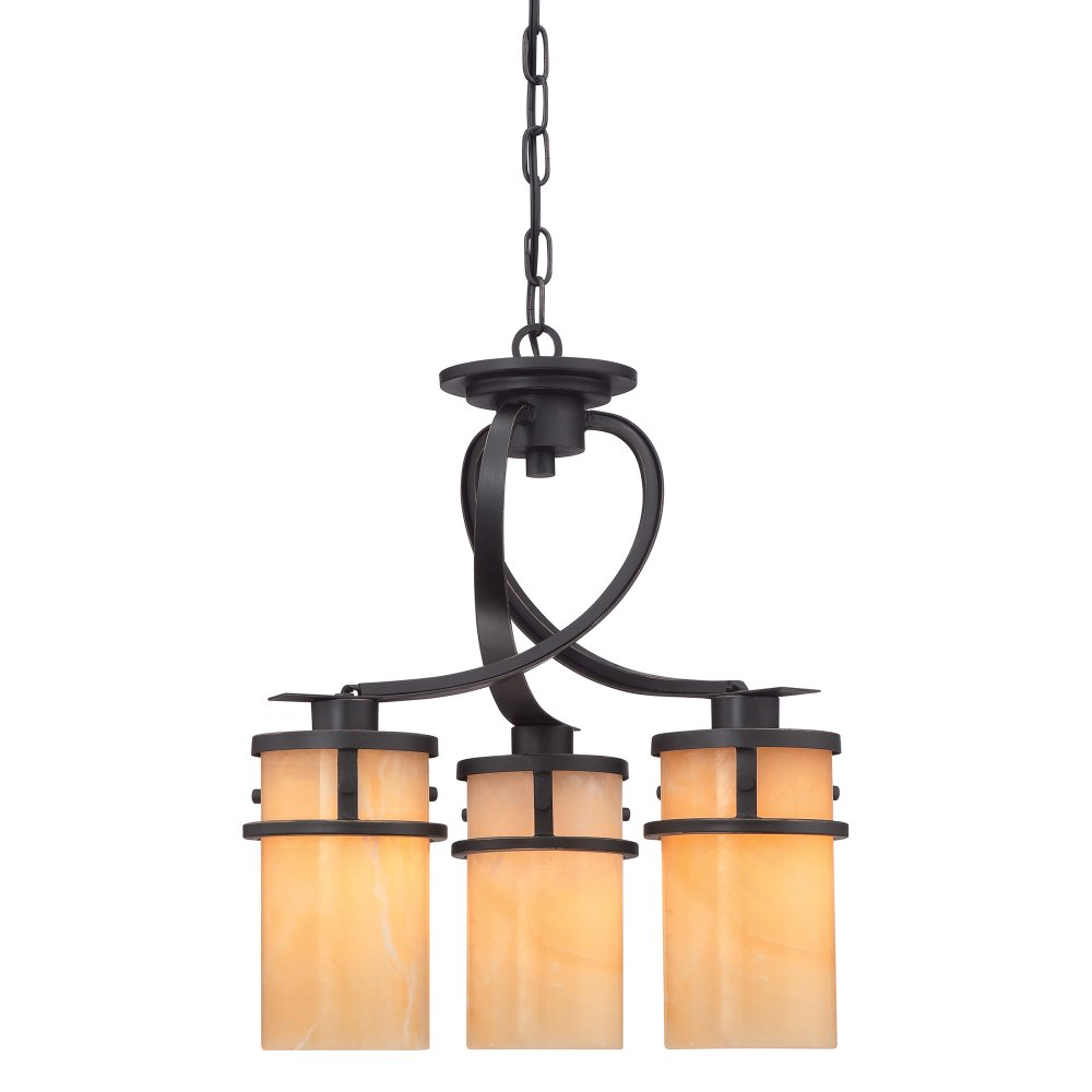 Kyle 3 Light Hanging Ceiling Pendant With Buttermilk Onyx