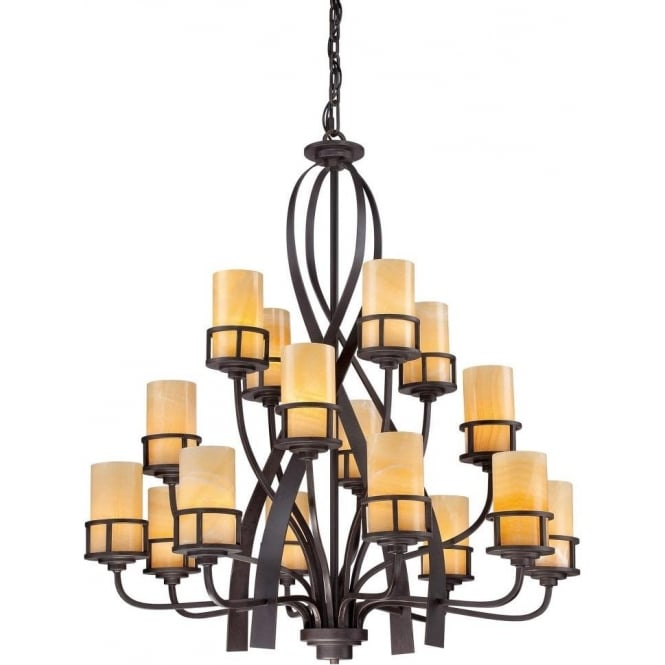 Broadway American Collection KYLE large rustic chic 16 light bronze chandelier with onyx shades