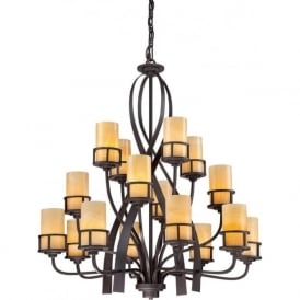 KYLE large rustic chic 16 light bronze chandelier with onyx shades