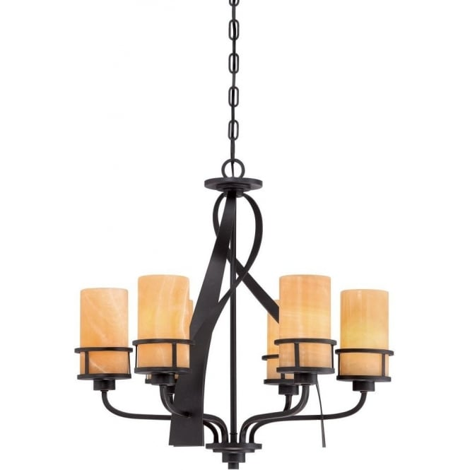 Broadway American Collection KYLE rustic chic 6 light bronze chandelier with onyx shades