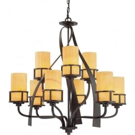 KYLE rustic chic 9 light bronze chandelier with onyx shades